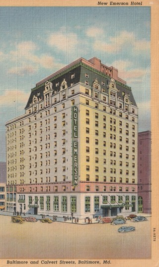 Vintage Used Postcard: 1945 New Emerson Hotel, Baltimore, MD