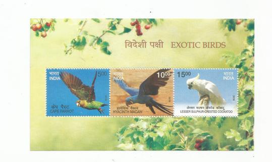 MNH 2016 India Exotic Birds Souvenir Sheet 2