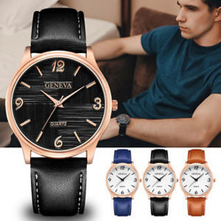 New Military Leather Stainless Steel Quartz Analog Army Men's Quartz Wrist Watch