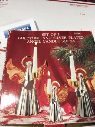 Elegant Goldtone & Silver Plated Winged Angel Candle Stick Holder Set