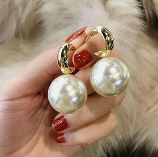 Fashion Gold Large Pearl Earrings Drop Dangle Ear Stud Woman Jewelry Gifts