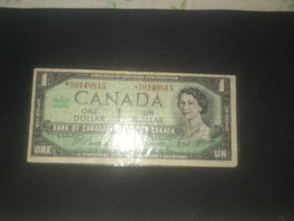 Last of the one dollar Canadian bills.  :)