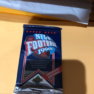 1991 upper deck unopened pack of football cards