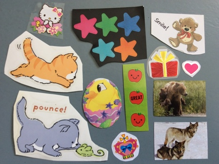 20 Assorted Stickers ** Animals, Colorful Stars, Apple Face, Hello Kitty & More **