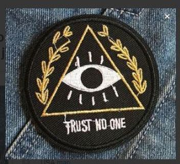 1 NEW Trust No One Iron-on Patch embroidered patch iron on garments studded jacket diy decorated bag