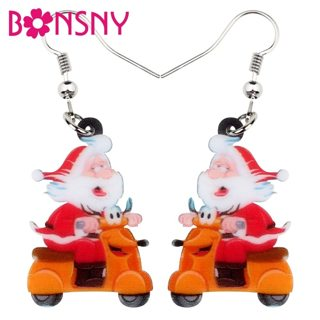 Bonsny Acrylic Christmas Gift Santa Claus Earrings Drop Dangle Party Decoration Sets Jewelry For