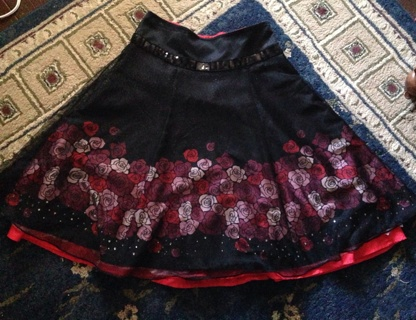Black And Red Rose Goth/Lolita-Style Skirt