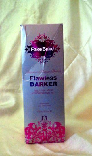 NIB - FAKE BAKE FLAWLESS DARKER SELF-TAN LIQUID & PROFESSIONAL MITT - STREAK FREE 6 FL. OZ