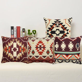 Aztec Geometric Abstract Linen Cotton Cushion Cover Throw Pillow Case Home Decor