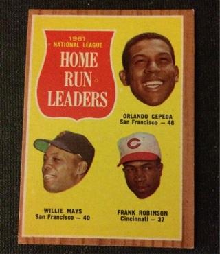 1962 Topps Homerun Leaders #54- Willie Mays, Frank Robinson, Orlando Cepeda