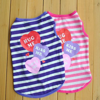 [GIN FOR FREE SHIPPING] Dog Summer Puppy Cat Apparel Striped HUG ME Vest T-shirt