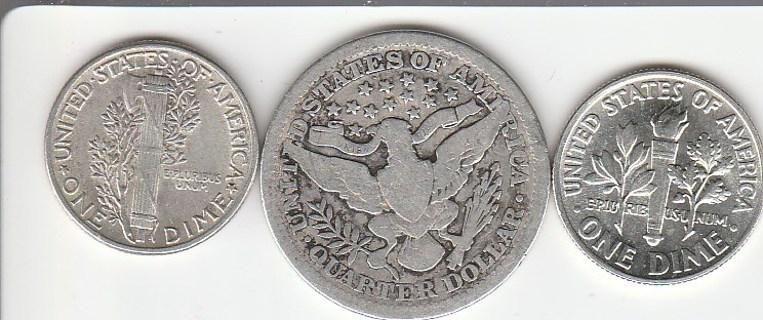 SILVER Dime Silver Quarter Silver Dime
