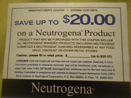 FREE COUPON FOR ANY NEUTROGENA PRODUCT UP TO $20.00!!!