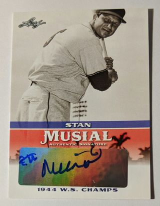 STAN MUSIAL AUTOGRAPH * SIGNATURE CERTIFIED AUTHENTIC BY LEAF TRADING CARDS