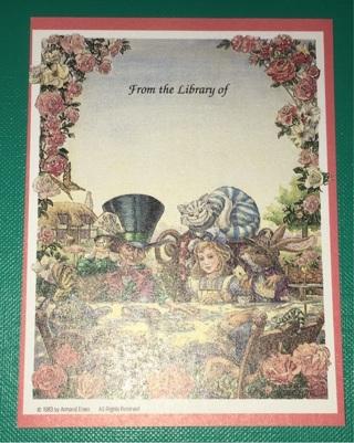 Vintage Alice in Wonderland Book Plate / Label Sticker