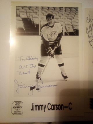 2 Signed Hockey post card size pictures