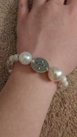 """""""Pure"""" White Beaded Bracelet with Metal Stamped Circle (Innocence, Purity, Protection)"""