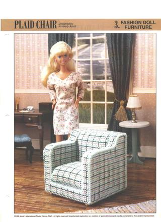 Free Plaid Chair Fashion Doll Furniture Plastic Canvas Pattern Needlepoint
