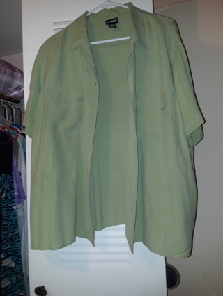 """LOW GIN LIKE NEW  100% SILK +++""""NOTATIONS +++WOMAN"""" BEAUTIFUL BLOUSE SIZE 3X (BUTTON DOWN)"""