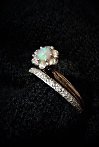 Solid 14K & 10K Yellow Gold Vintage Opal Engagement Ring with Bonus Diamond wedding Band Nice!!