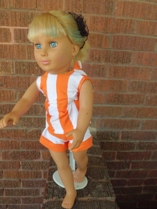 orange and white short set for ag doll