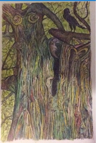 "SPIRIT  TREE - 5 x 7"" art card by artist Nina Struthers - GIN ONLY"