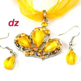 Set-Crystal Glass Pendant Chiffon Necklace Necklace Earrings Set