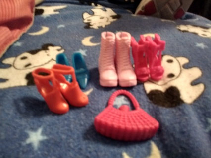 Barbie doll shoes and purse