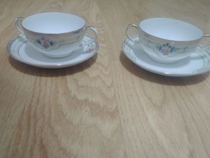 2 Hand Painted Nippon teacup and saucers