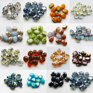 20PCs Faceted Oblong Finding Cut Glass Crystal Loose Spacer Oval Beads 9x12mm