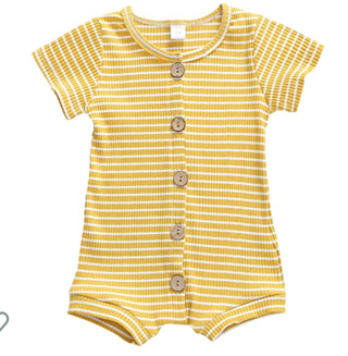 Short Sleeve Stripe Romper Jumpsuits Ribbed Breasted Bodysuit Summer Clothes (Yellow, 6-12 Months)