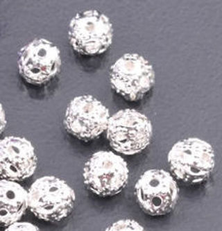 50+4mm silver plated ornate loose beads