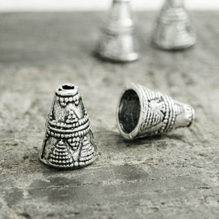 50Pcs Metal Tibetan Silver End Beads Caps Jewelry Findings Cone 8.5x8.5x11.5mm