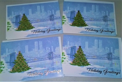 "4 Christmas ""Holiday Greetings"" cards  - 7 3/4"" x 5 1/2"" - shows World Trade Center in background"