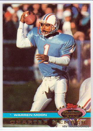 Warren Moon, 1991 Topps Stadium Club Charter Member Card, Houston Oilers