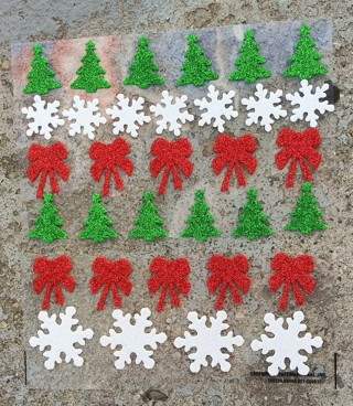 CHRISTMAS GLITTER FOAM RUBBER STICKERS TREES SNOWFLAKE RED BOWS