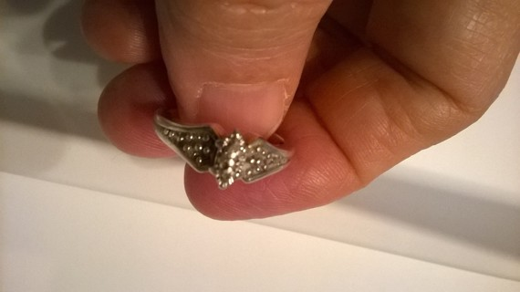 Vintage Sterling Silver Diamond Ring Size 7