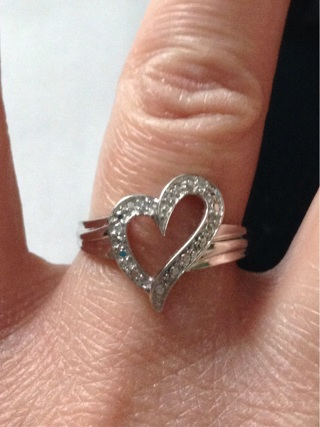 10k real gold open diamond heart ring