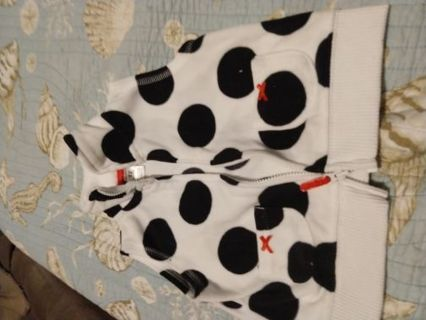 Barely Used Carter's White With Black Circles Fleece Vest 12 Months