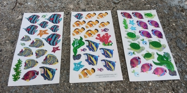 TROPICAL FISH SPARKLE STICKERS