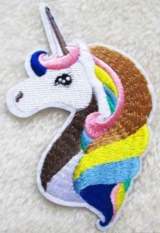 1 NEW Unicorn IRON ON Patch Stitch Patterned Rainbow Cute Embroidered Patches Clothing Badge