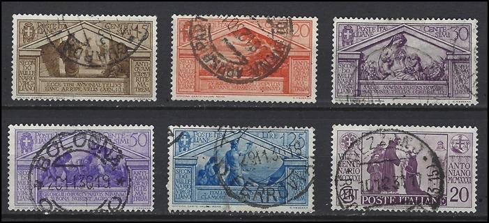 1930 Italy stamps (6), U/VF, with Scott IDs, est CV $17.15