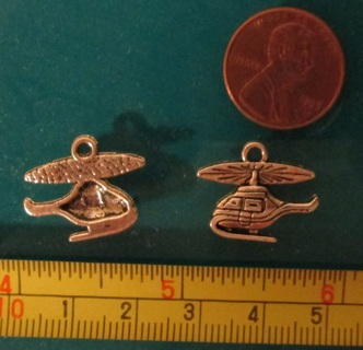 2 Helicopter Charms, Silver tone metal