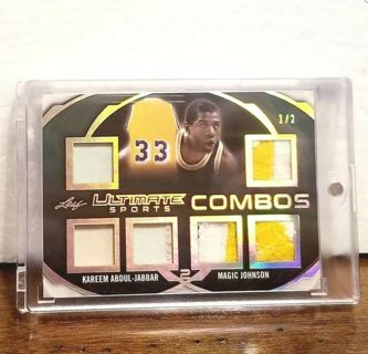 LOS ANGELES LAKERS #'d 1 of 2 > KAREEM ABDUL JABBAR & MAGIC JOHNSON >2-player =6 patch >super rare!