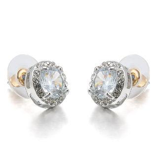 Women's 18K White Gold Plated Crystal Zircon Inlaid Ear Stud Earrings