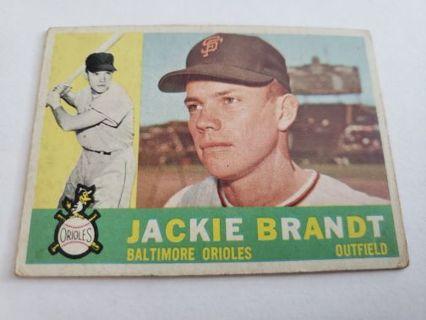 1960 topps Jackie Brandt Baltimore Orioles vintage baseball card