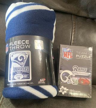 Los Angeles (LA) Rams Fleece Throw (Exclusive NFL) - NEW- + Bonus Puzzle