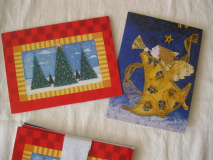 6 Christmas cards w matching envelopes, 2 designs, 3 cards each design.