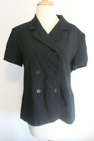 Jones New York Size 14 Petite Rayon Polyester Blend Black Business Casual Top