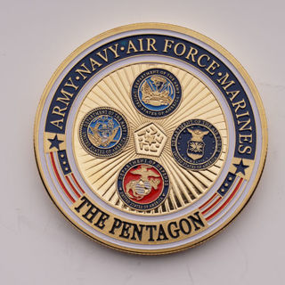 Gold Plated Army Navy Air Force Marines The Pentagon Military Commemorative Coin